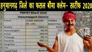 हनुमानगढ़ फसल बीमा क्लेम खरीफ 2020