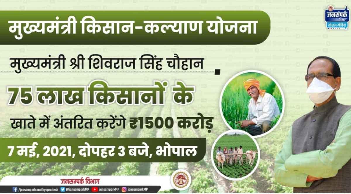 बड़ी खबर: 75 लाख किसानों के बैंक खातों में आज आयेंगे मुख्यमंत्री किसान कल्याण योजना के 1500 करोड़ रुपए