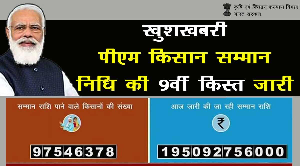 पीएम किसान निधि योजना की नौवीं किस्त हुई जारी, 9.75 करोड़ किसानों के खाते में भेजे 2000-2000 रुपये